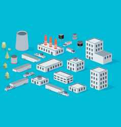 Isometric icon set factory production buildings vector