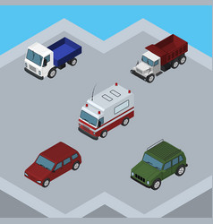 isometric transport set of car lorry armored and vector image