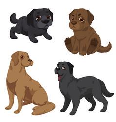 Labrador icons set cartoon style vector