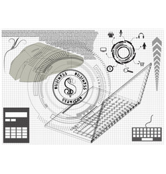 Laptop mouse and calculator vector