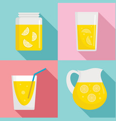 Lemonade icon set flat style vector