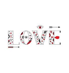 love lips arrows lerrers vector image