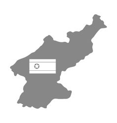 Map of north korea with flag vector