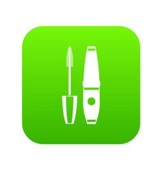 mascara mascara brush icon digital green vector image