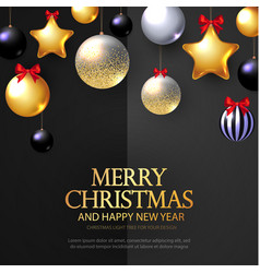 merry christmas background with realistic golden vector image