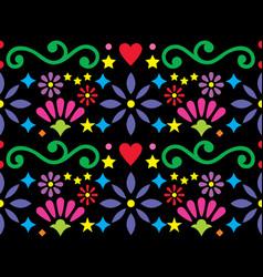 Mexican folk art vibrant seamless pattern vector