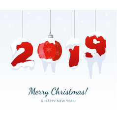 new year 2019 red year number white vector image