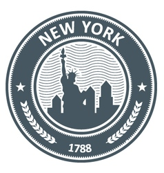 new york stamp with statue liberty vector image