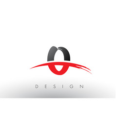 O brush logo letters with red and black swoosh vector