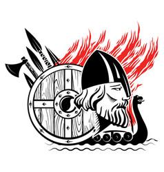 Old scandinavian design norse warrior berserker vector