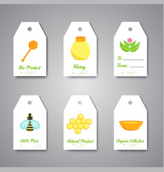 Organic honey gift tag hanging labels with flat vector