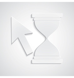 Paper cursor with hourglass vector