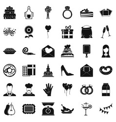 Party cake icons set simple style vector