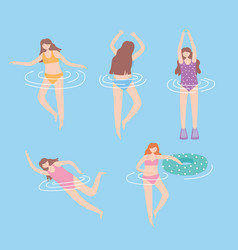people dressed in swimwear in swimming pool vector image