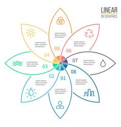 Pie chart with 8 petals design element vector