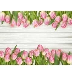 Pink tulips border EPS 10 vector