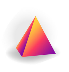 Pyramid - 3d geometric shape with holographic vector