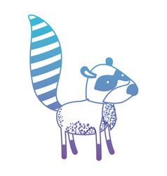 Raccoon cartoon in degraded blue to purple color vector
