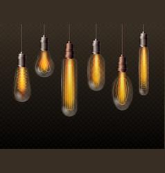 realistic light bulbs set trendy decor glowing vector image
