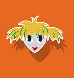 Realistic paper sticker on theme humor clown woman vector