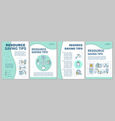 Resource saving tips brochure template vector