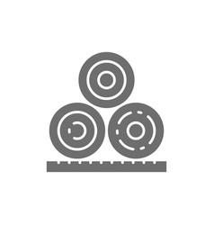 Rolled hay bales haystack agriculture grey icon vector
