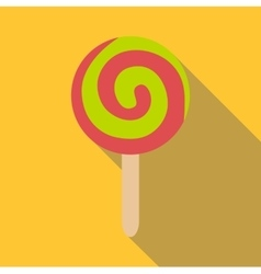 Round ice cream icon flat style vector