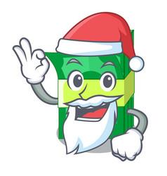 Santa set money in packing bundles cartoon vector