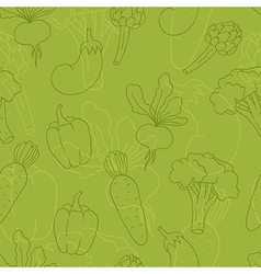 Seamless green vegetables background vector image