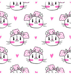 seamless pattern with cute fase of cats and bows vector image
