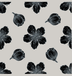 seamless pattern with hand drawn stylized peach vector image