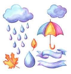 Set of aquarelle umbrella clouds and rain vector