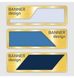set of metallic textured banners web banners with vector image