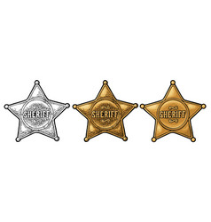 sheriff star vintage color engraving vector image