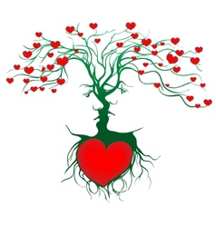 Silhouette of kissing couple shaped by tree vector