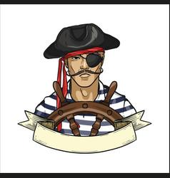 Sketch pirate face vector