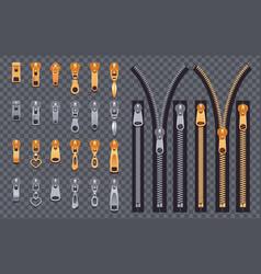 Slide fastener elements set vector