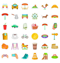 small city icons set cartoon style vector image