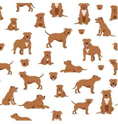 Staffordshire bull terrier seamless pattern vector