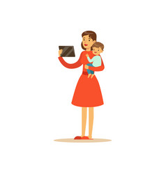 Super mom character with child holding the tablet vector