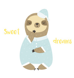 Sweet cute yawning sloth in pyjama and bed cap vector
