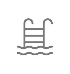 Swimming pool ladder line icon vector