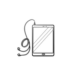 Tablet with headphones hand drawn outline doodle vector