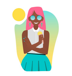 Tanned girl eating ice cream vector