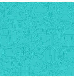 Thin Line Blue Spring and Garden Seamless Pattern vector image