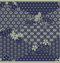 traditional japanese fabric patchwork wallpaper vector image