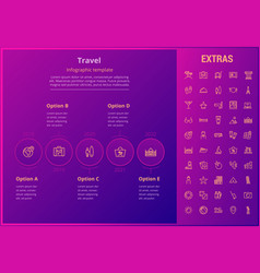 travel infographic template elements and icons vector image