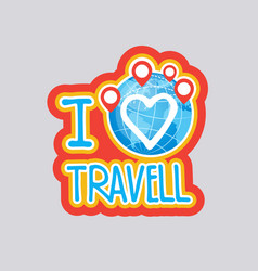Travelling sticker social media network message vector