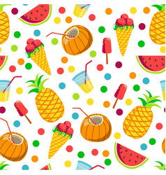 tropical prints pineapple and watermelon coconut vector image