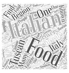 Tuscan italian food word cloud concept vector